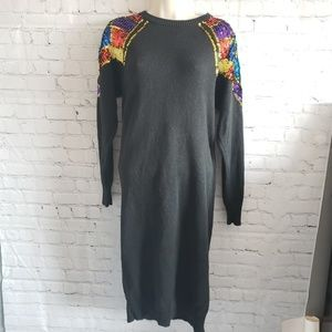 Vintage sequin shoulder 80s sweater dress medium